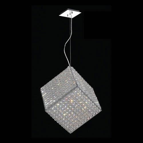 Worldwide Lighting Corp Cube Six-Light Chrome Finish with Clear-Crystals Pendant