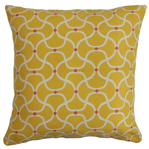 The Pillow Collection Radha Yellow 18 x 18 Geometric Throw Pillow