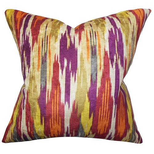 The Pillow Collection Ulyanka Spice Orange 18 x 18 Geometric Throw Pillow