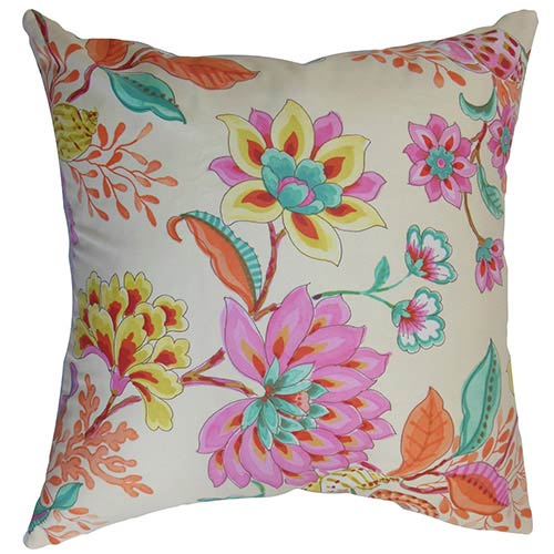 The Pillow Collection Mahanoro Pink 18 x 18 Floral Throw Pillow