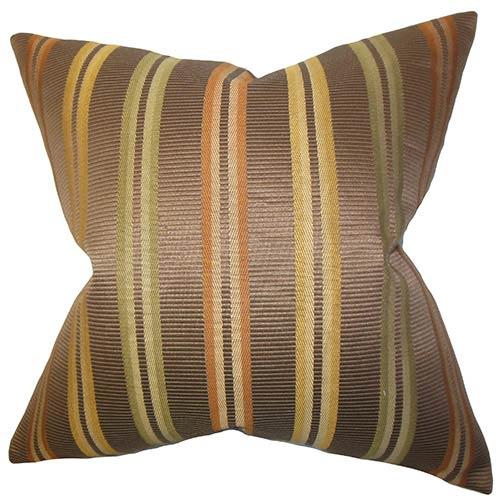 The Pillow Collection Dorsey Brown 18 x 18 Stripes Throw Pillow