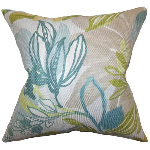 The Pillow Collection Ebele Blue and Green 18 x 18 Floral Throw Pillow
