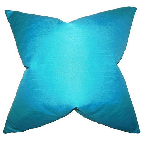 The Pillow Collection Baldwin Blue 18 x 18 Solid Throw Pillow