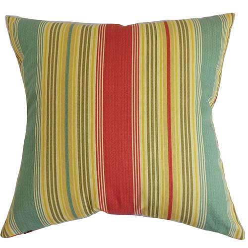 Marquis Red 18 x 18 Stripes Throw Pillow