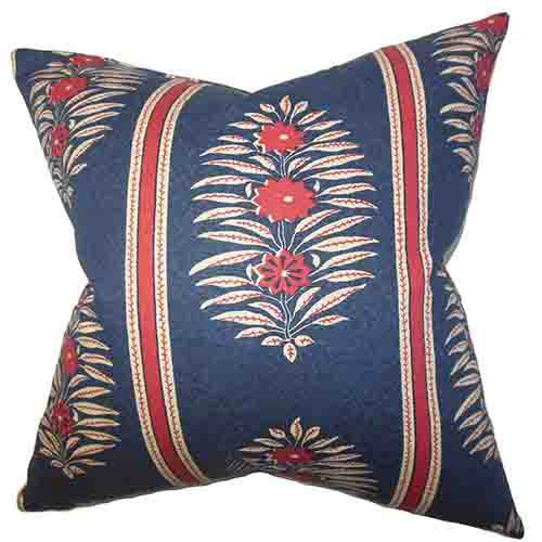 The Pillow Collection Ginevra Blue 18 x 18 Floral Throw Pillow