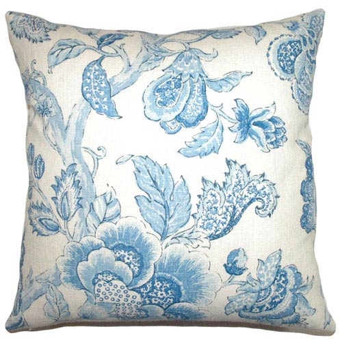 The Pillow Collection Yette Toile Pillow Porcelain