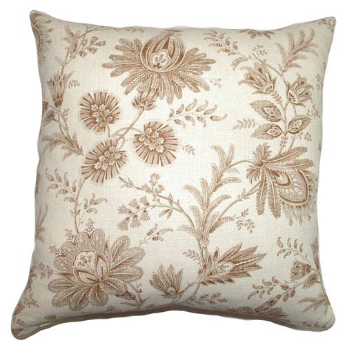 The Pillow Collection Camella Toile Pillow Chocolate
