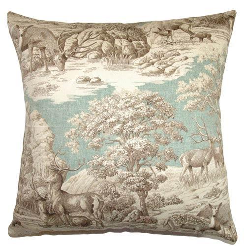 The Pillow Collection Feramin Toile Pillow Aqua Front