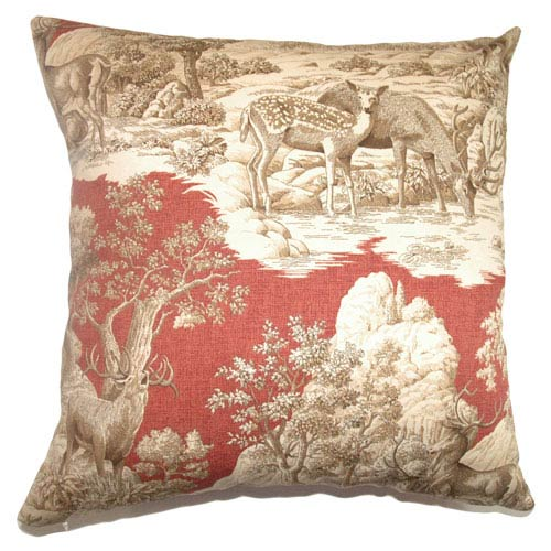 The Pillow Collection Feramin Toile Pillow Redwood Back