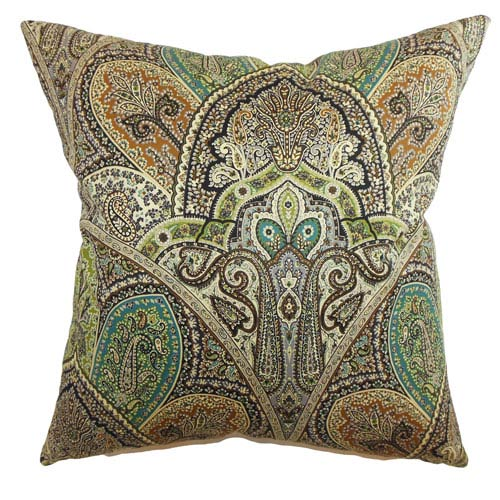 The Pillow Collection La Ceiba Paisley Pillow Emerald