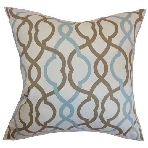 The Pillow Collection Adiyaman Aqua Cocoa and Brown 18 x 18 Geometric Throw Pillow