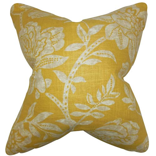 The Pillow Collection Lanier Yellow 18 x 18 Floral Throw Pillow