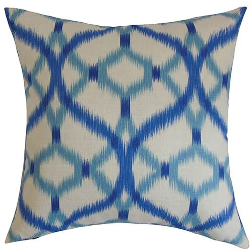 The Pillow Collection Wasior Blue 18 x 18 Geometric Throw Pillow