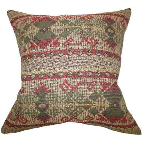 The Pillow Collection Egle Red 18 x 18 Geometric Throw Pillow