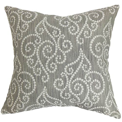 The Pillow Collection Cienne Gray 18 x 18 Swirls Throw Pillow