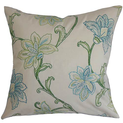 The Pillow Collection Eimear Green 18 x 18 Floral Throw Pillow