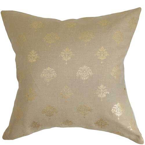 Nishka Gold 18 x 18 Floral Throw Pillow