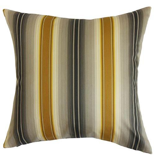 The Pillow Collection Mitzi Black 18 x 18 Stripes Throw Pillow