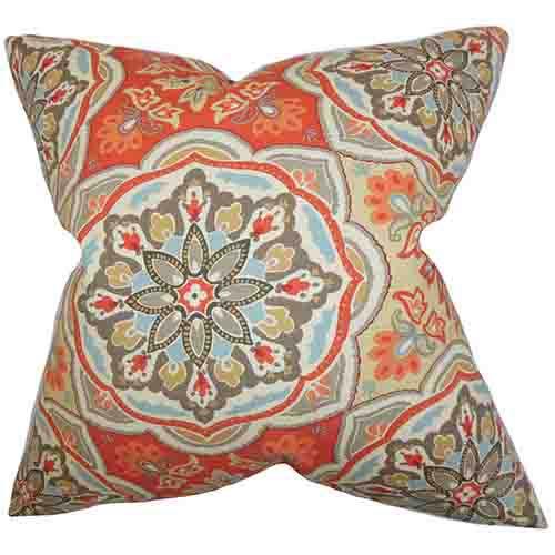 The Pillow Collection Luana Orange 18 x 18 Floral Throw Pillow