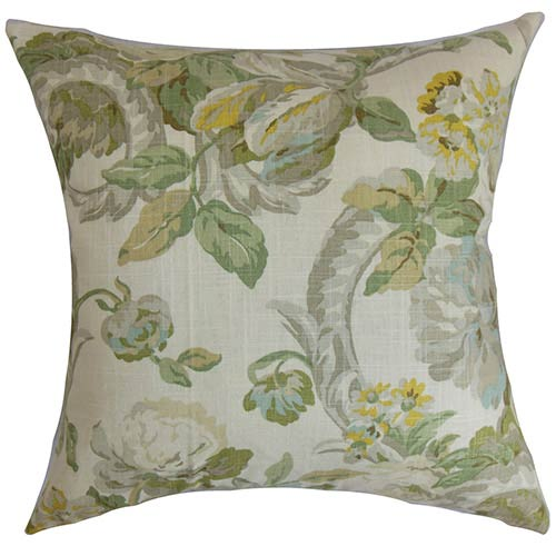 The Pillow Collection Khorsed Gray 18 x 18 Floral Throw Pillow