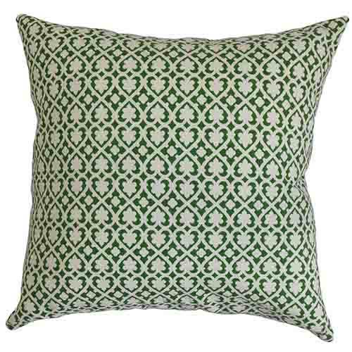The Pillow Collection Orlaith Green 18 x 18 Geometric Throw Pillow