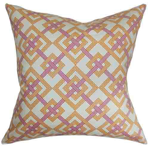 The Pillow Collection Fimbrethil Orange and Purple 18 x 18 Geometric Throw Pillow