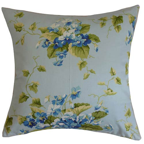 The Pillow Collection Haru Blue 18 x 18 Floral Throw Pillow