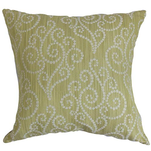 The Pillow Collection Cienne Green 18 x 18 Swirls Throw Pillow
