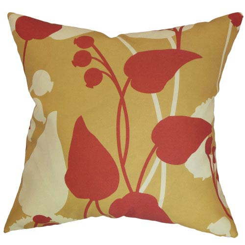 The Pillow Collection Gardenia Floral Pillow Gold/Red