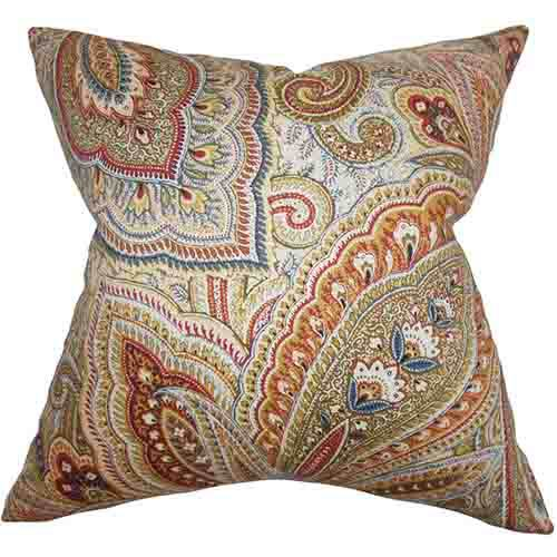 The Pillow Collection Lalage Multicolor 18 x 18 Paisley Throw Pillow