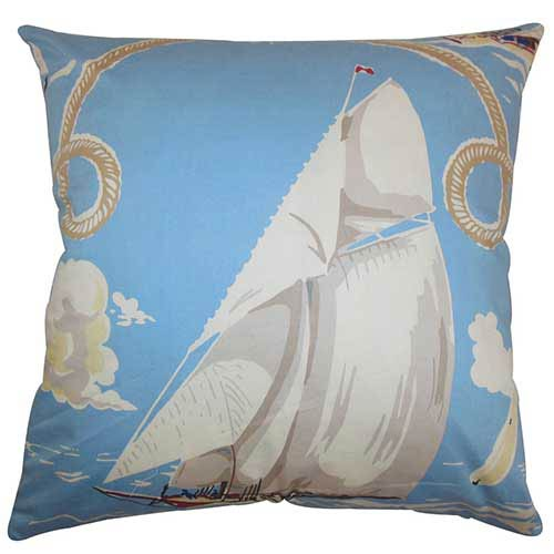 The Pillow Collection Margalo Blue 18 x 18 Coastal Throw Pillow