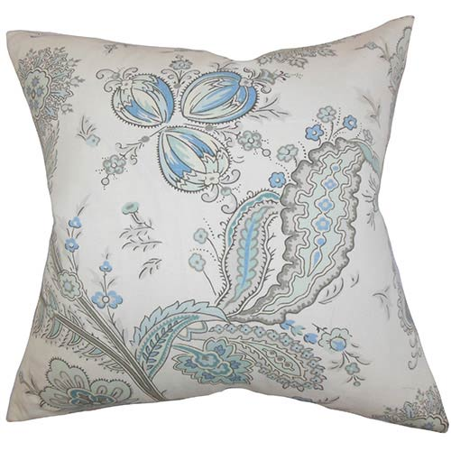 The Pillow Collection Dilys Blue 18 x 18 Floral Throw Pillow