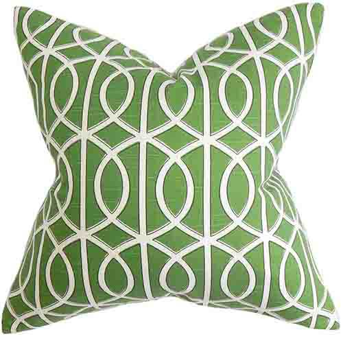 The Pillow Collection Lior Green 18 x 18 Geometric Throw Pillow