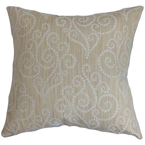 The Pillow Collection Cienne Neutral 18 x 18 Swirls Throw Pillow