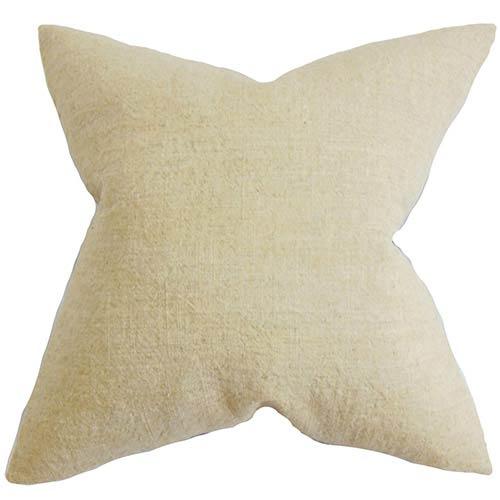 The Pillow Collection Yaretzi Tan 18 x 18 Solid Throw Pillow