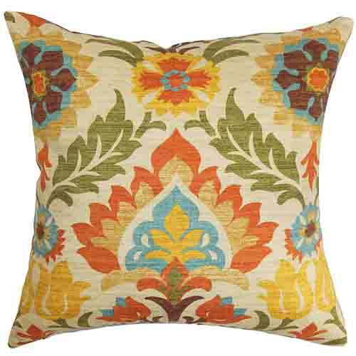 The Pillow Collection Eland Orange 18 x 18 Floral Throw Pillow