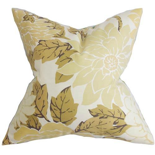 The Pillow Collection Kerensa Neutral 18 x 18 Floral Throw Pillow