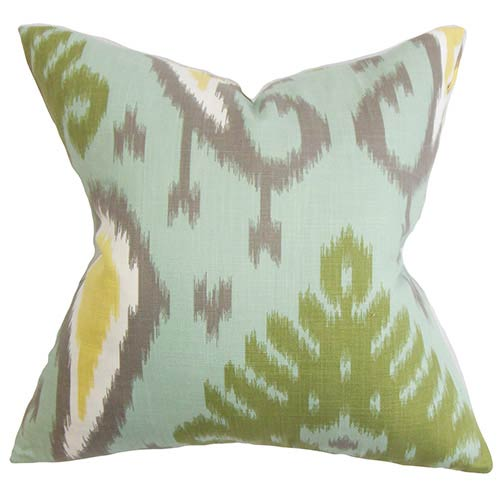 The Pillow Collection Bentshaya Aqua 18 x 18 Ikat Throw Pillow