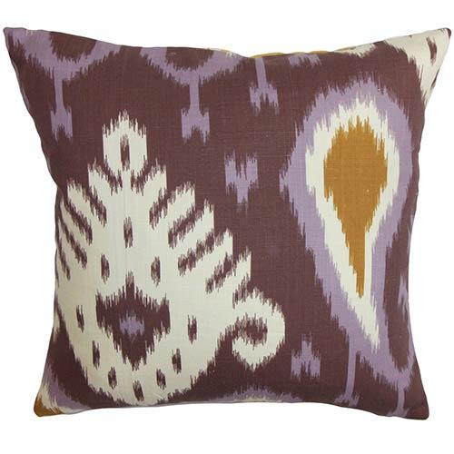 The Pillow Collection Bentshaya Purple 18 x 18 Ikat Throw Pillow