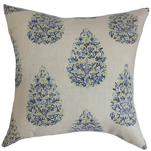 The Pillow Collection Faeyza Blue and Green 18 x 18 Floral Throw Pillow