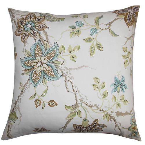 The Pillow Collection Ululani Brown 18 x 18 Floral Throw Pillow
