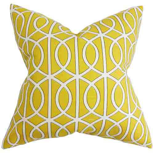 The Pillow Collection Lior Yellow 18 x 18 Geometric Throw Pillow