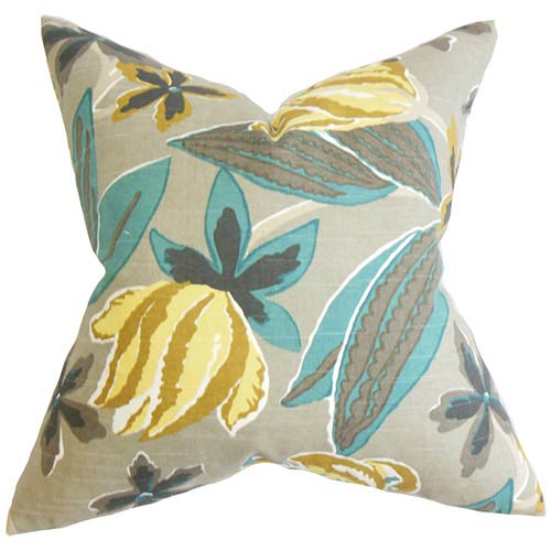 The Pillow Collection Averill Gray 18 x 18 Floral Throw Pillow