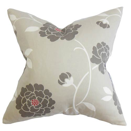 The Pillow Collection Graziela Gray 18 x 18 Floral Throw Pillow