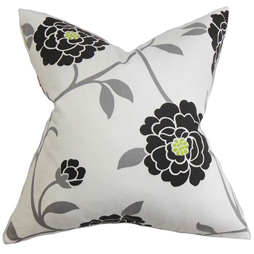 The Pillow Collection Graziela Black 18 x 18 Floral Throw Pillow
