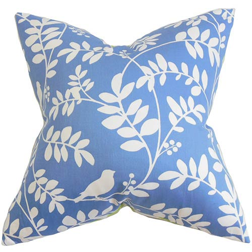 The Pillow Collection Nyssa Blue 18 x 18 Floral Throw Pillow