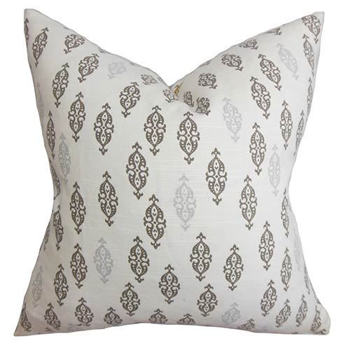 The Pillow Collection Ziven Gray 18 x 18 Geometric Throw Pillow