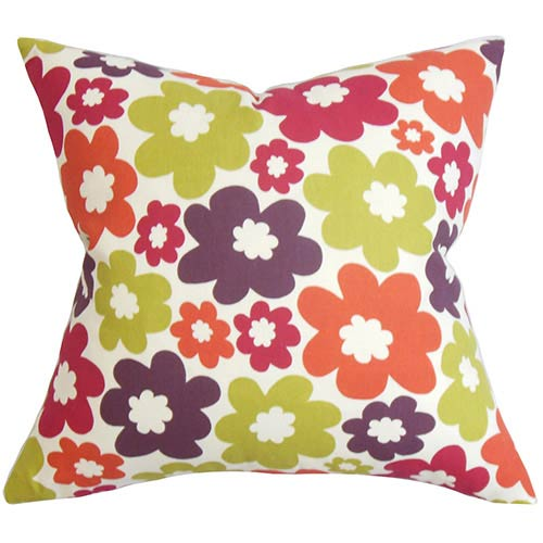 The Pillow Collection Quilla Purple 18 x 18 Floral Throw Pillow