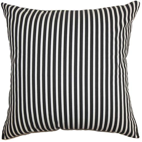 The Pillow Collection Elvy Black and White 18 x 18 Stripes Throw Pillow