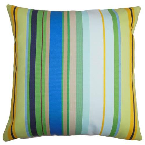 The Pillow Collection Larid Blue 18 x 18 Stripes Throw Pillow